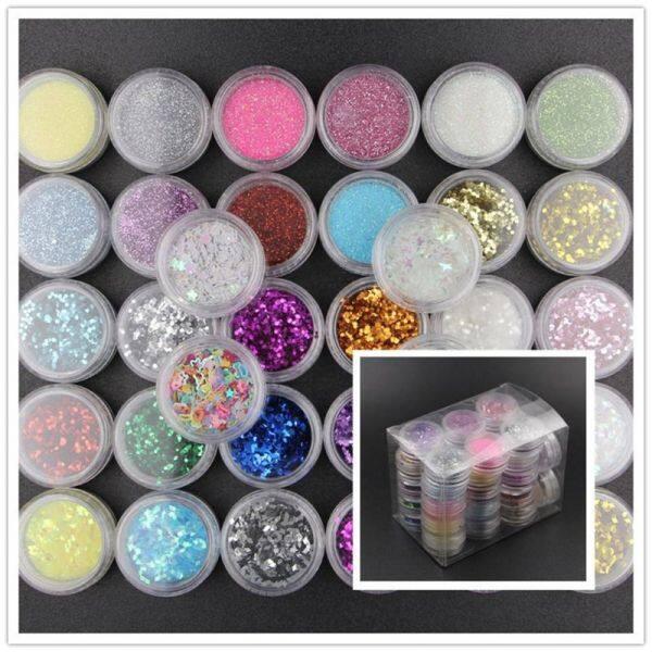 Giá bán 34 Màu Sắc Nhựa Pigment Mica Bột Glitters Sequains Nail Art Trang Sức Làm