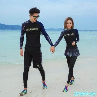 QTEL Đàn Ông Trang Phục Bơi Phụ Nữ Cặp Đôi Đồ Bơi Tay Áo Dài Chống Mẩn Ngứa Surf Lặn thumbnail