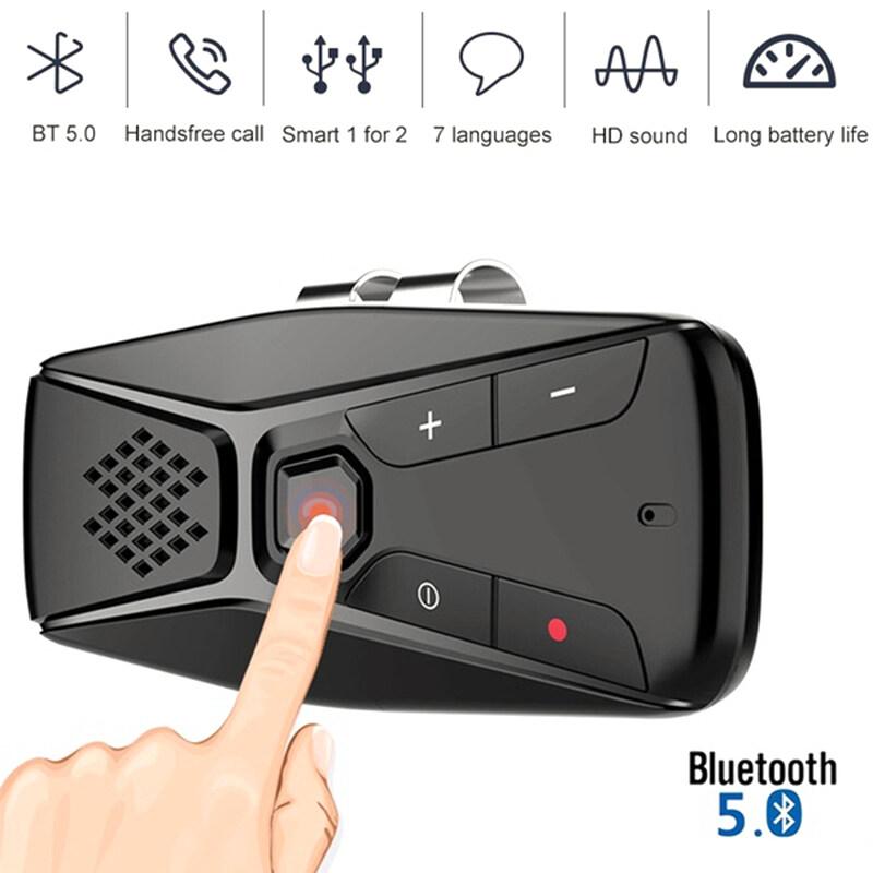 Giá Laztech [Chính Hãng] Bluetooth 5.0 Gọi Điện Thoại Rảnh Tay Trên Ô Tô Màn Che Nắng Ô Tô Nhìn Sạc Loa Không Dây 7 Ngôn Ngữ Âm Nhạc Đầu Thu người Chơi
