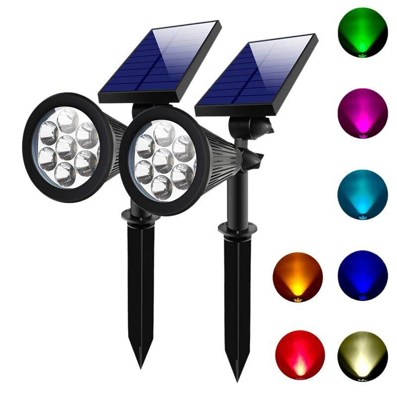2 SETS 7 LED Solar Spotlights Outdoor Solar Lights Waterproof Color Spot Lights for Garden Landscape Spotlights Dark Sensing Auto On/Off Solar Up Lights For Yard Patio Lawn