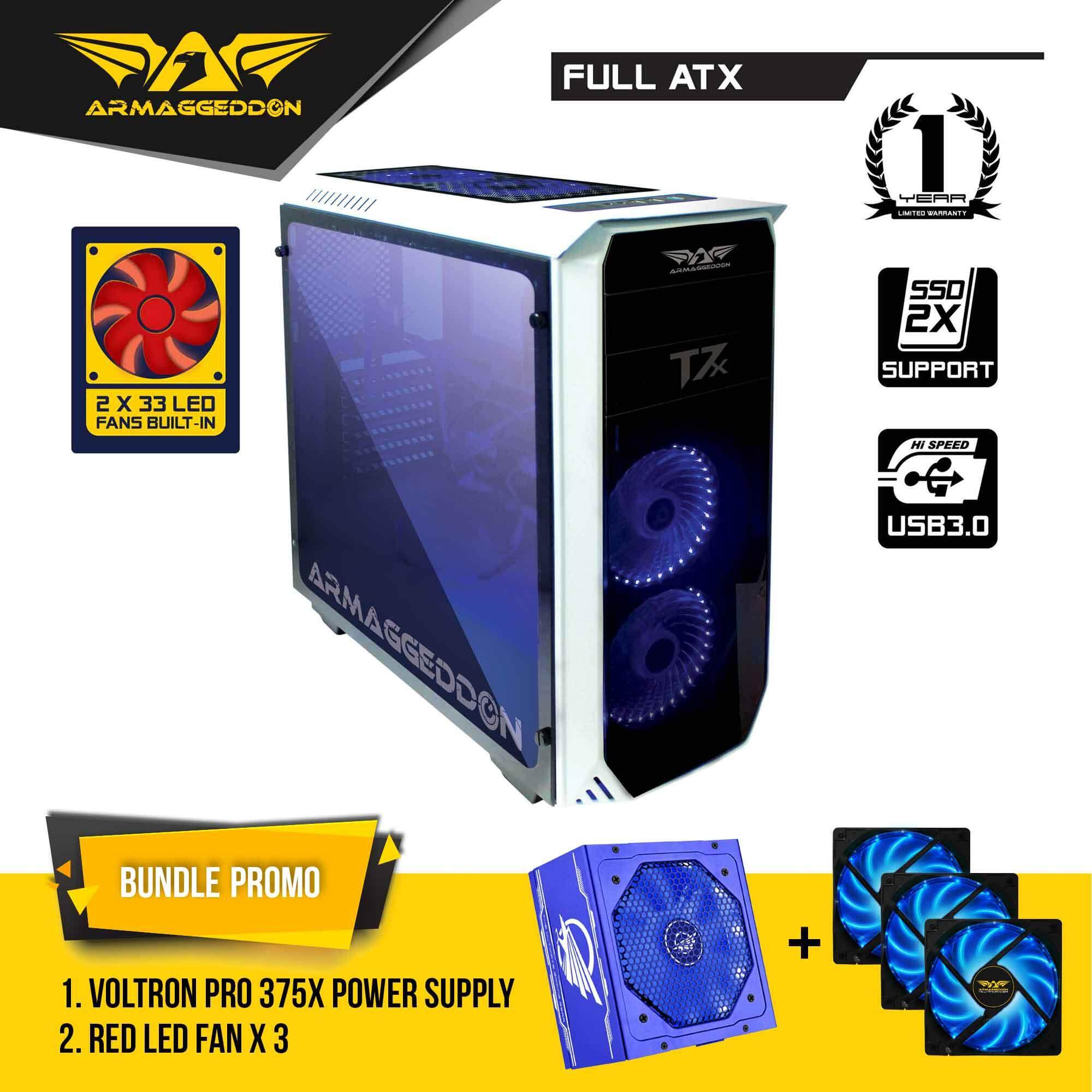 Armaggeddon T7x Full ATX Gaming Case with Voltron Pro Power Supply and Cooling Fan Bundle Promo Malaysia