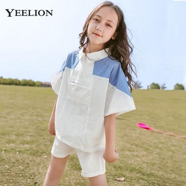 Giá bán Bộ đồ yeelion cho bé gái, Bộ hai chiếc áo ngắn tay màu tương phản thường ngày mùa hè nvt0017