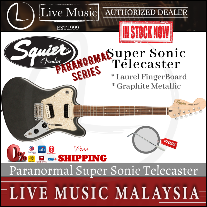 Squier Paranormal Series Super Sonic Telecaster Electric Guitar - Graphite Metallic Malaysia
