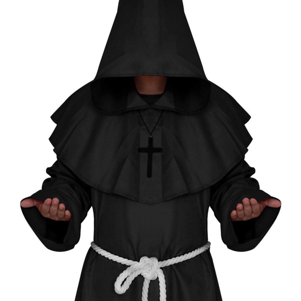 Fenteer Friar Medieval Hooded Monk Priest Robe Cloak Costume Cosplay Black S
