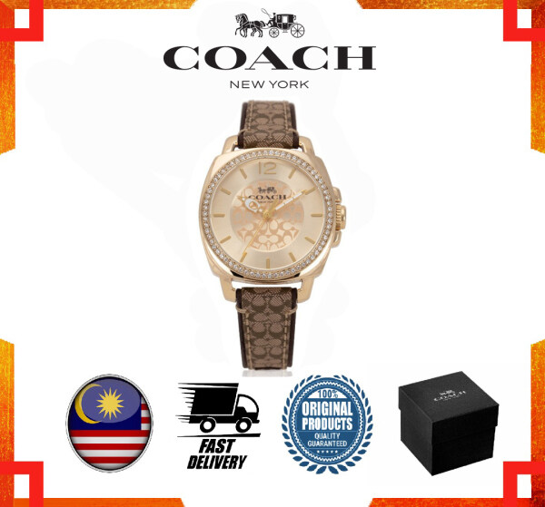 [GENUINE] Original 2 Years Warranty Coach Boyfriend Signature Strap Khaki Brown Watch Women Watch 14503150 Malaysia