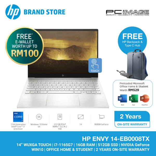 HP ENVY 14-EB0008TX i7-1165G7/16GB/512GB SSD/GTX1650TI 4GB/14 WUXGA TOUCH/W10H/HNS/2Y W/SILVER (BACKPACK+TYPE C HUB) Malaysia