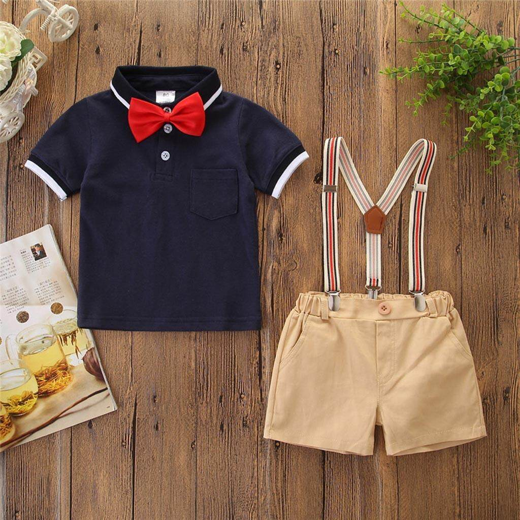 c04f29c3a3e Warmihome Toddler Kids Baby Boys Outfit Clothes Bow Tie Shirt+Shorts  Gentleman Party Suit