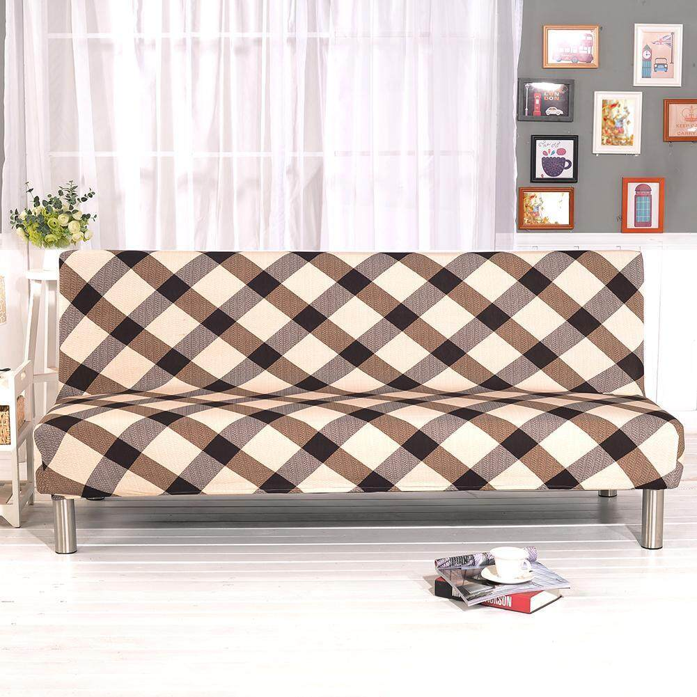 New Arrival Fold Sofa Cover Elastic Plaid Couch Funiture Sofa Bed Cover without Armrest