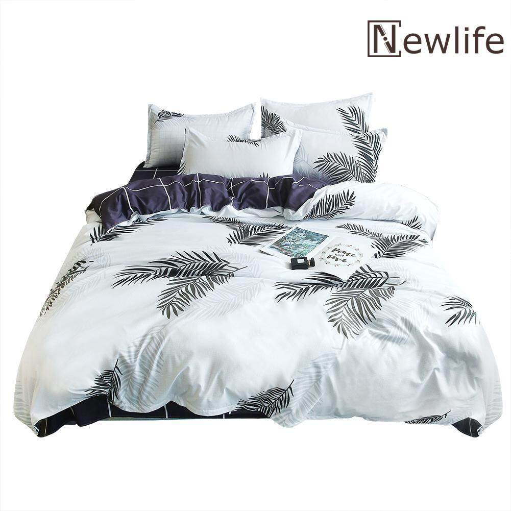 Newlifestyle 4pcs Bedding Set Banana Leaf Print Quilt Duvet Cover Bed Sheet Pillowcase