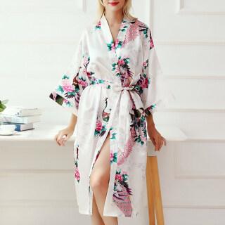 LI29 Áo Choàng Kimono Satin Hình Con Công Đám Cưới Quần Áo Ngủ, Áo Ngủ, Áo Choàng Tắm Áo Choàng Ngủ thumbnail