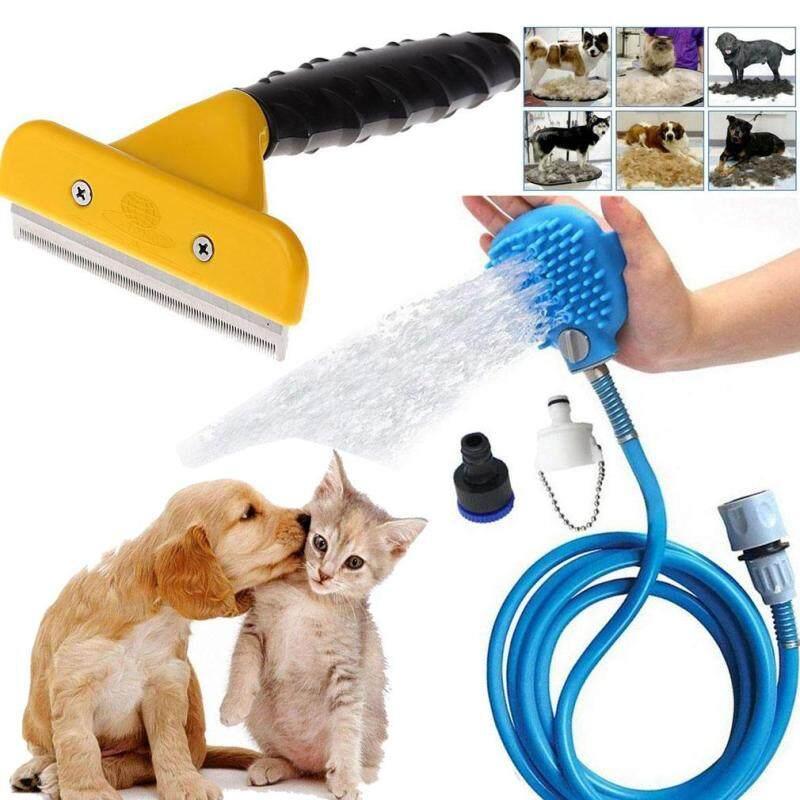 2 Chiếc Cho Thú Cưng Tắm Vòi Sen Phun Xịt Tẩy + Deshedding Dụng Cụ Cọ Chải Lông Thú Cưng Lược Công Cụ Làm Sạch Và Mát Xa Cho thú Cưng Chó Mèo Con Chó Con Động Vật