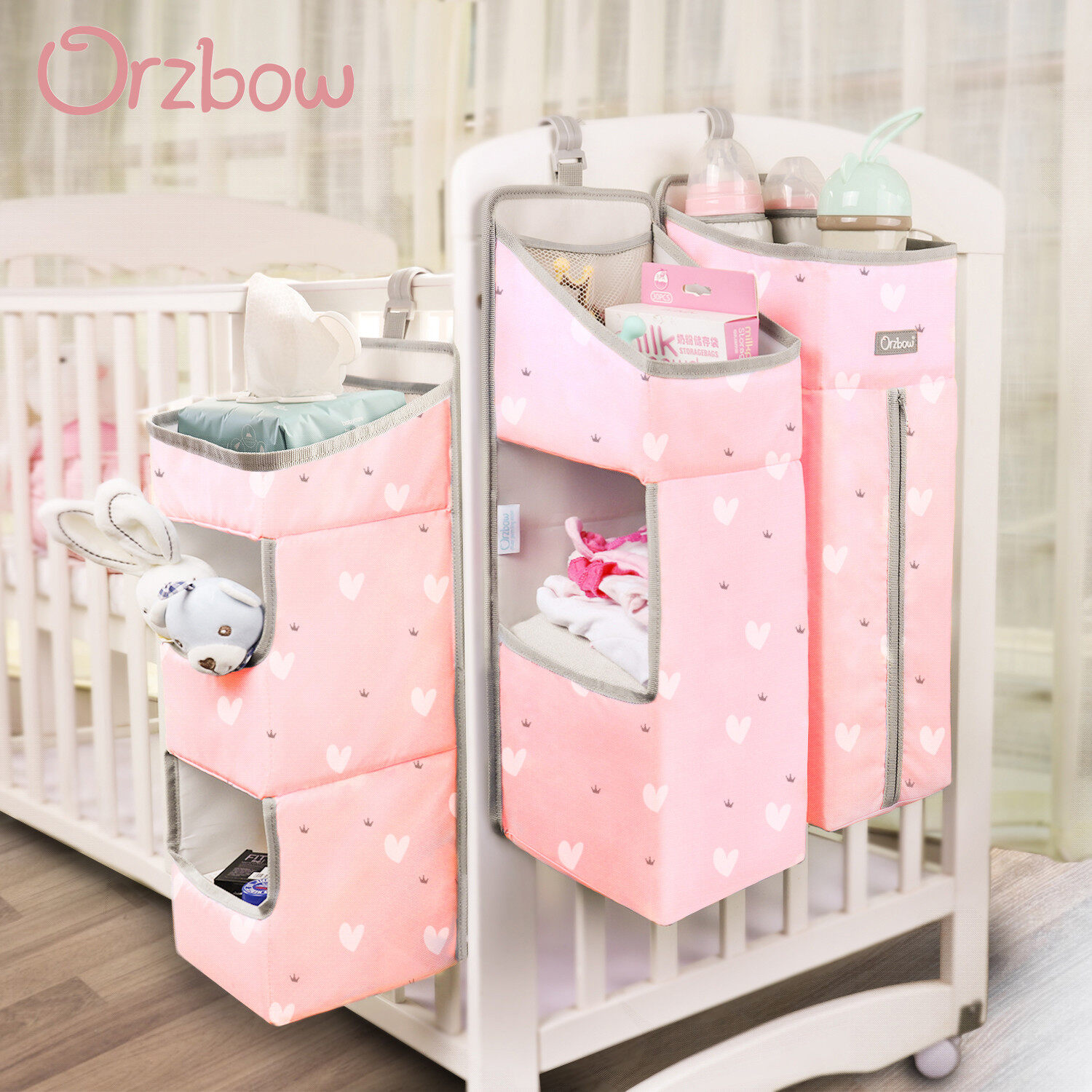 Pink Hang on Crib Changing Table or Wall Orzbow 3-in-1 Nursery Organizer and Baby Diaper Caddy Hanging Diaper Organization Storage for Baby Essentials