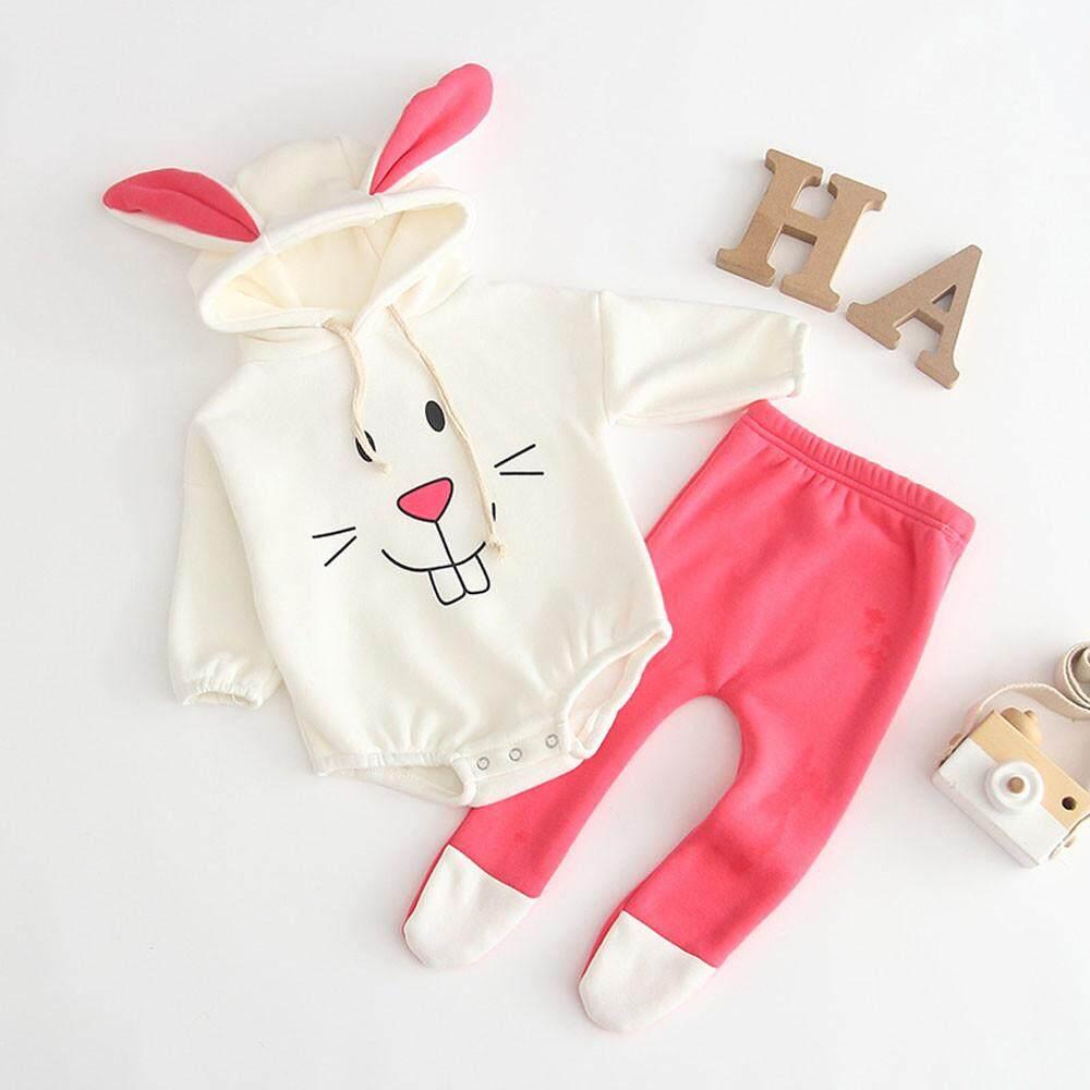 56635b434 Myapple Newborn Infant Baby Girl Boy Cartoon Rabbit Tops Hooded Romper Pants  Set Clothes