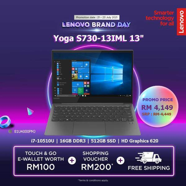 LENOVO YOGA S730-13IML 13 | Intel Core I7-10510U| 16GB DDR3 | 512GB SSD | Intel UHD Graphics | W10H| 2YR WRTY | IRON GREY|81U4000PMJ Malaysia