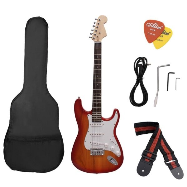 [FBL]ST Electric Guitar Basswood Body Rosewood Fingerboard with Gig Bag Picks Strap red(Local sale 2 days to arrive) Malaysia