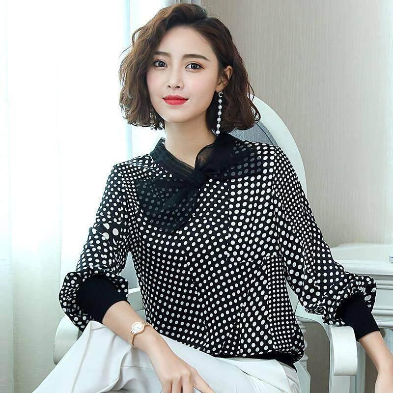 dcf55c36b85992 ICHOIX Chiffon Shirt Long-sleeve 2019 New Spring & Autumn Loose Bird Check  women's dress