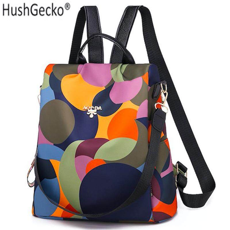 HushGecko Fashion Oxford Backpack Women Anti Theft Backpack Girls Contrast Color Bagpack Schoolbag for Teenagers Daypack