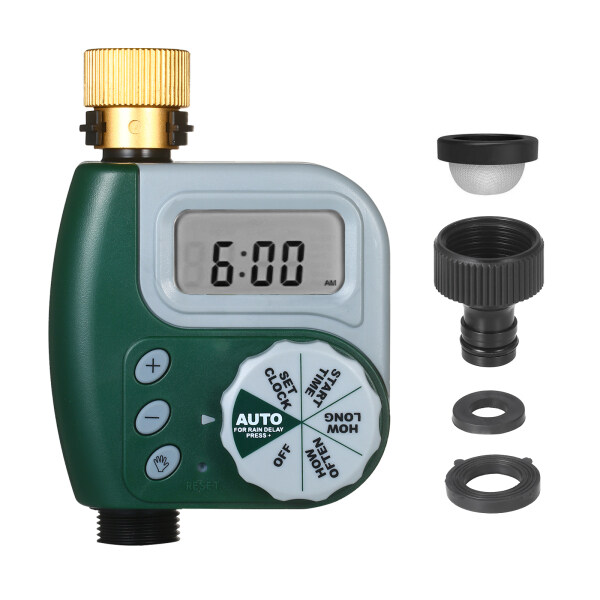 Digital Programmable Water Timer Weatherproof Garden Lawn Faucet Hose Timer Automatic Irrigation Controller 1-Outlet Leakpoof Copper Connector with Stainless Steel Filter