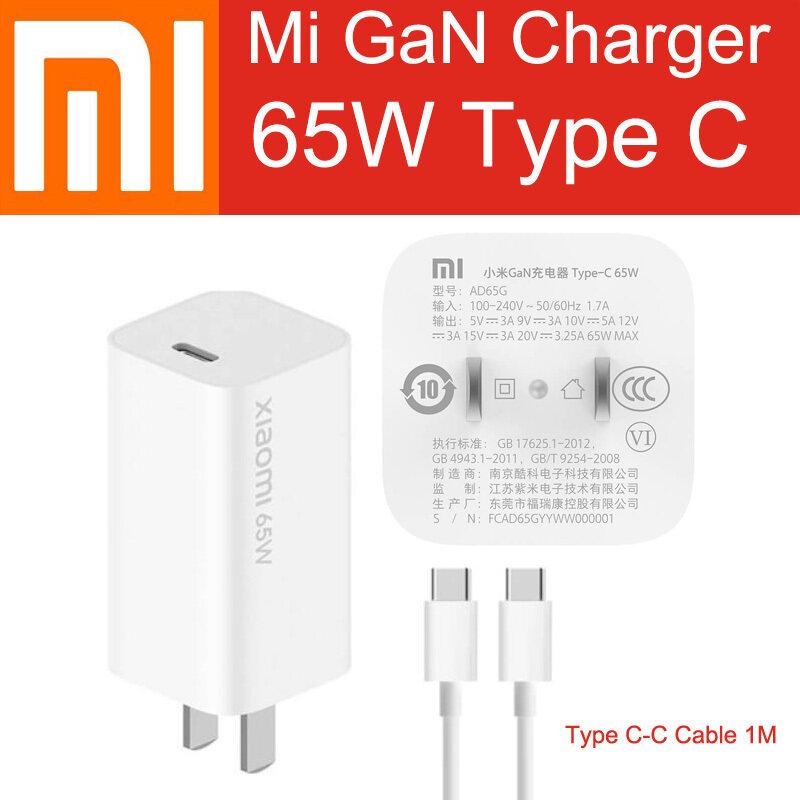 Bộ Sạc Gắn Tường Xiaomi Gan 65W USB C 50% Cung Cấp Nguồn Điện PD Nhanh Hơn Với Cáp 1 M Type-C Cho Mi 10 Pro Mi MacBook MateBook