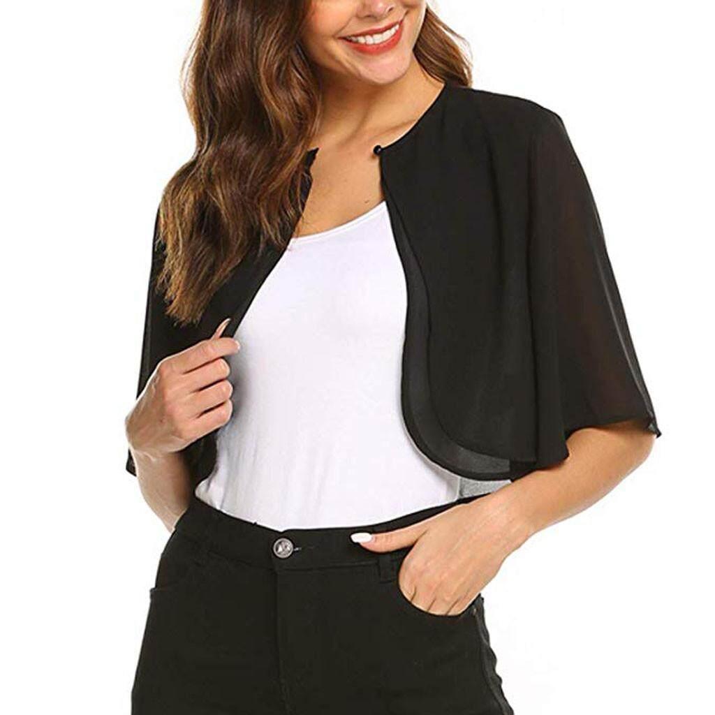d8e1ae9cd4c29 Product details of Tianji Store Women's Short Sleeve Sheer Open Front  Chiffon Shrug Cardigan Top
