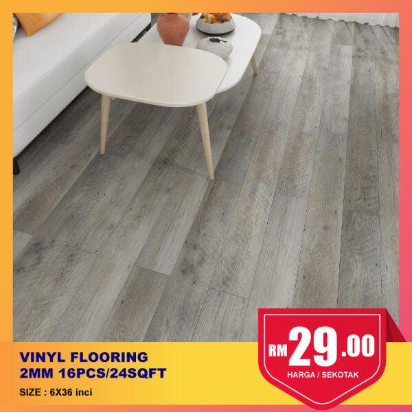 [Ready Stock] 2mm Self Adhesive Luxury Vinyl Flooring Plank PVC 6x36inch 16pcs/24sqft