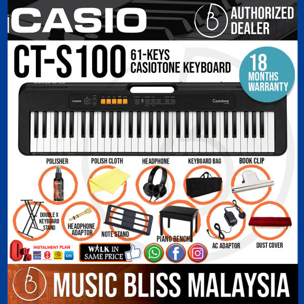 Casio CT-S100 61-Keys Casiotone Keyboard Package with Piano Bench, Keyboard Stand and Bag (CTS100 / CT S100) *Crazy Sales Promotion* Malaysia