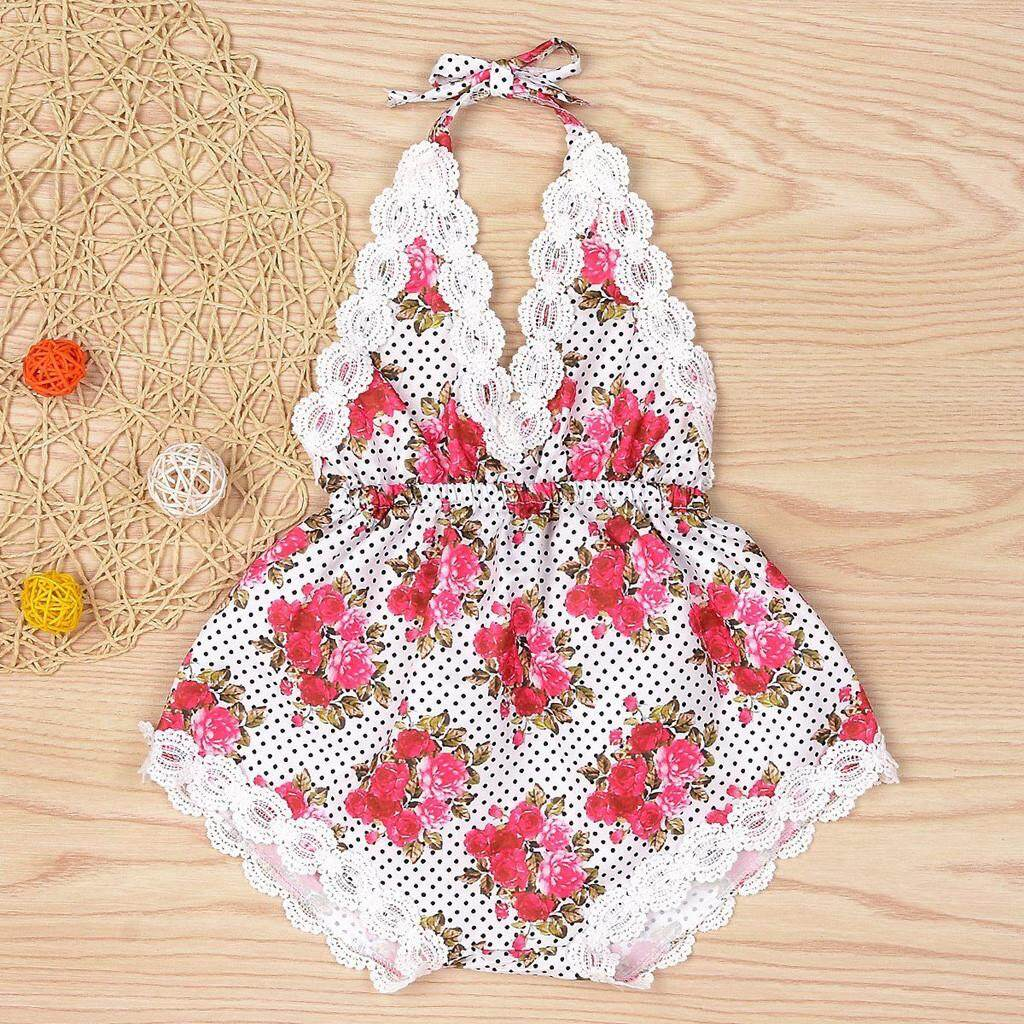 Haomian Hkhk New Fashion V-Neck Baby Infant Girl Childrens Sleeveless Floral Straps Romper Clothes Sunsuit By Haomian Hkhk.