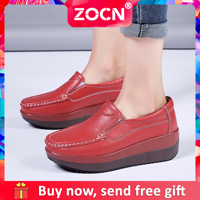 Giày Đế Xuồng Nữ ZOCN Giày Lười Đế Xuồng Thời Trang Bằng Da Giày Tiện Dụng Thoải Mái Giày Cỡ Lớn 35-41