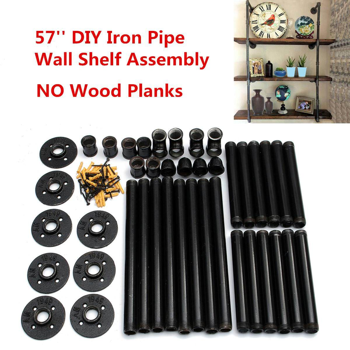 Industrial Retro Design Black Iron Pipe Wall Mount Shelf Shelving 145cm Height