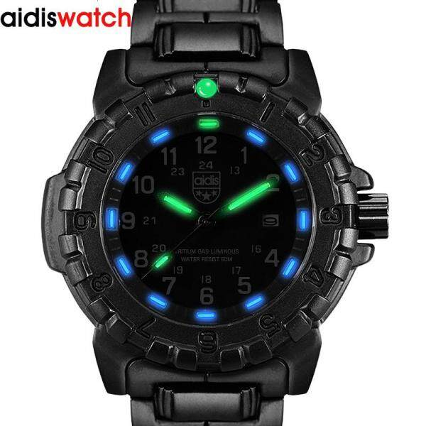 Addies Luminous Watch Military Watches Top Brand Fashion Casual Sport Black Full Steel Quartz Watch Men Male Clock Wristwatch Malaysia