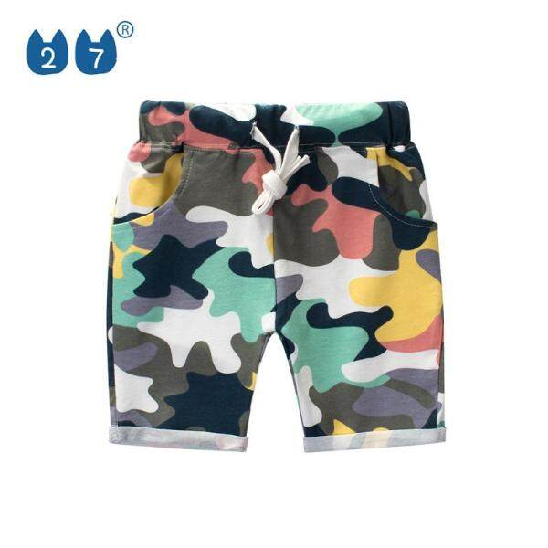 27Kids Store kids shorts for 1-8 years old boys girls elasticity Highlight camouflage colorful vibrant Cotton Breathable cool Good fabric Home clothing Casual wear summer NEW fashion