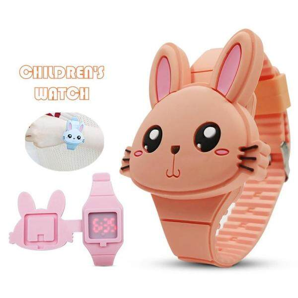 DOTEC Lovely Rabbit Cartoon Children Watches Flip Cover Rubber Kids Watch for Boy Girls Student Electronic Wristwatches Malaysia