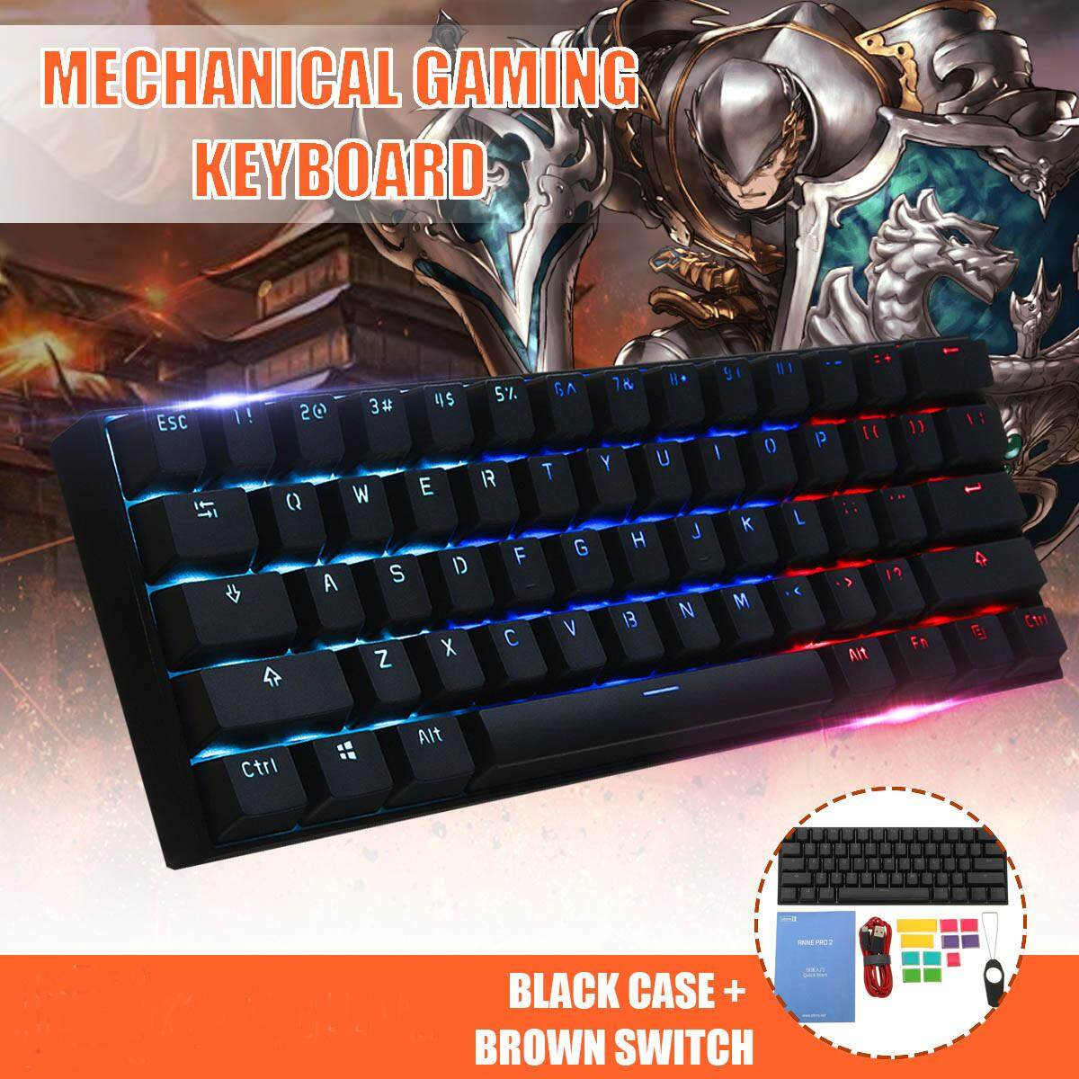 [Gateron Switch]Obins Anne Pro 2 60% NKRO Bluetooth 4.0 Type-C RGB Mechanical Gaming Keyboard61 Keys -Brown /Red /Blue Switch