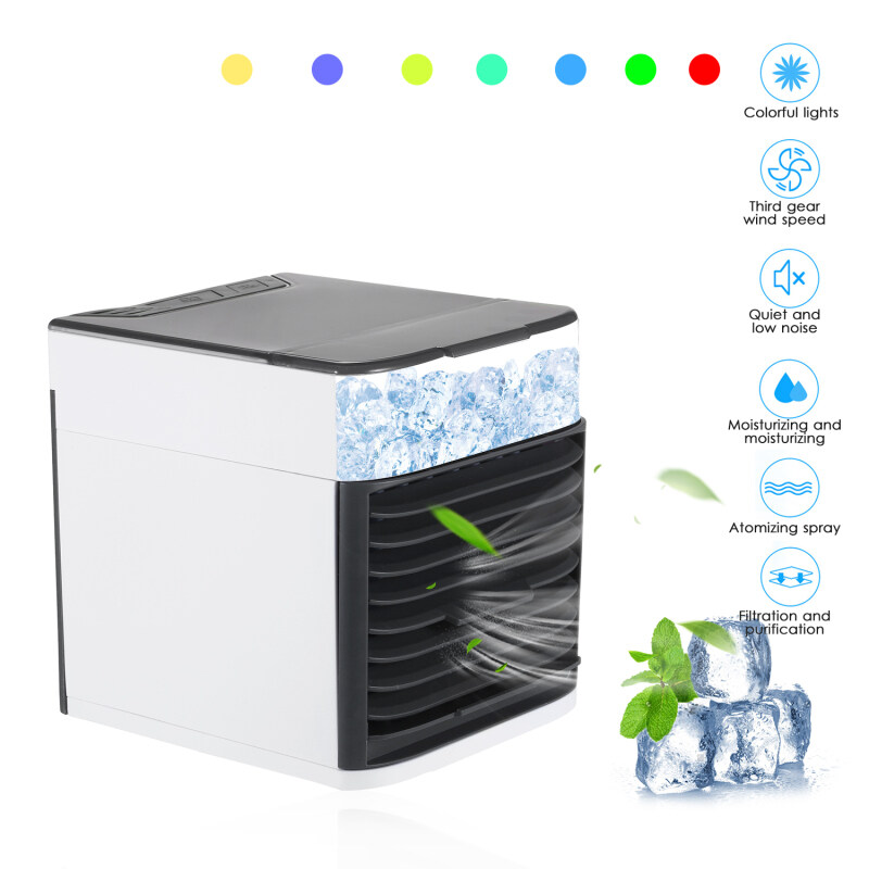 Mini Portable Air Conditioner Fan Noiseless Evaporative Air Humidifier USB Personal Conditioner 3-Speed LED Night  Office Cooler Humidifier Purifier