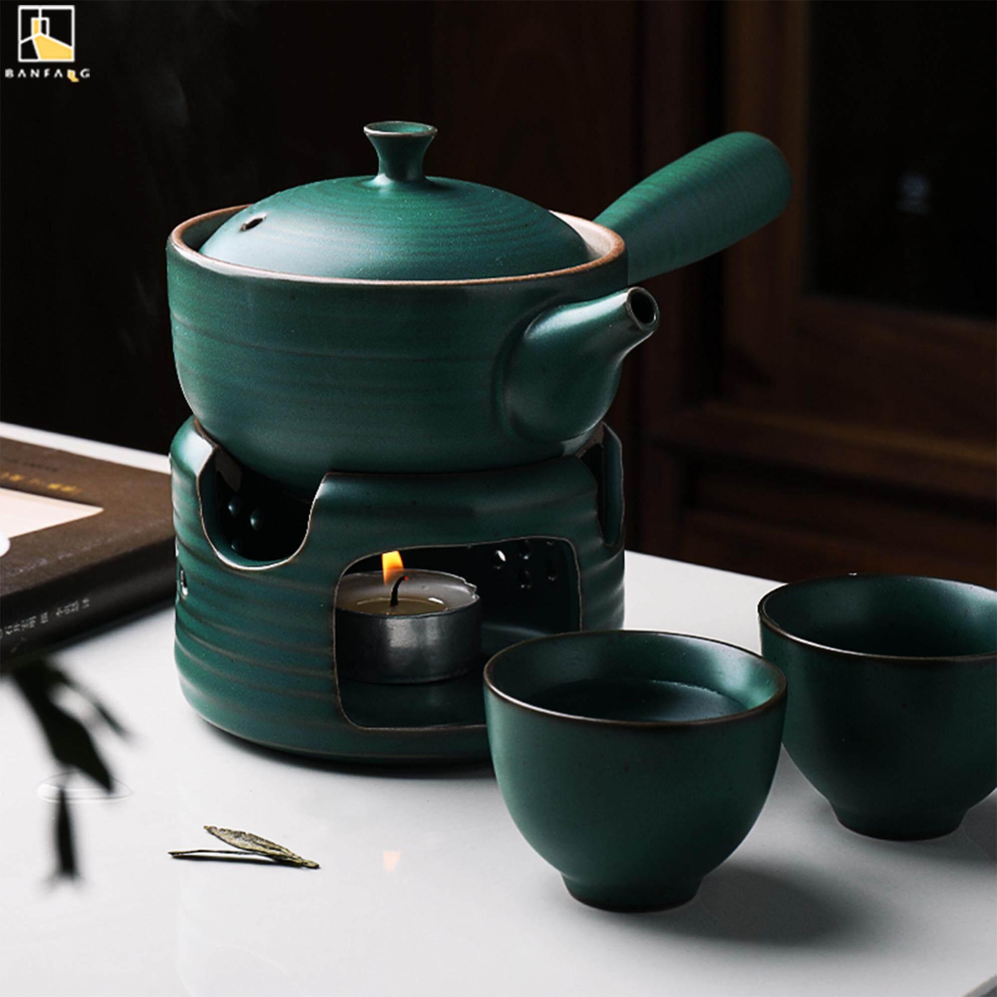 BANFANG kiểu Nhật Bản thông xanh Bộ ấm trà gốm sứ Bộ Nến làm nóng căn cứ hộ gia đình ấm trà Kungfu trà
