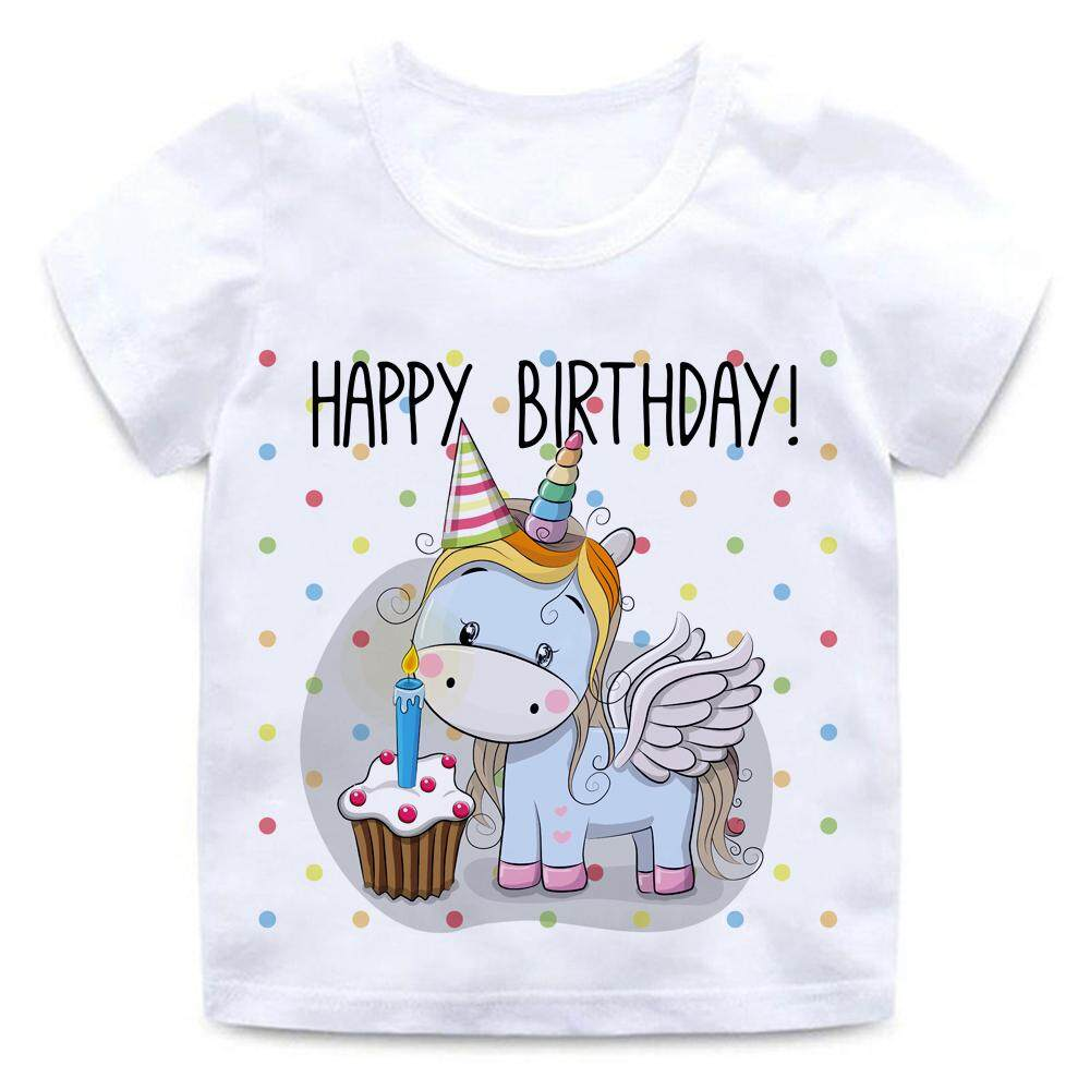 Happy Birthday Unicorn Rainbow 2 14yrs Tshirt For Kids T Shirt Boys