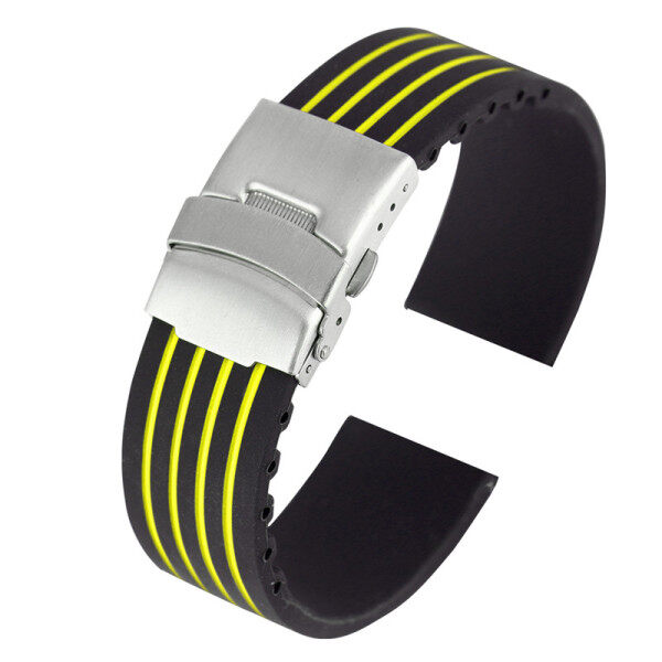 AIKEN 18/20/22/24mm Black/Yellow/Blue/Red Silicone Watch Band Rubber Strap Replacement Bracelet Malaysia