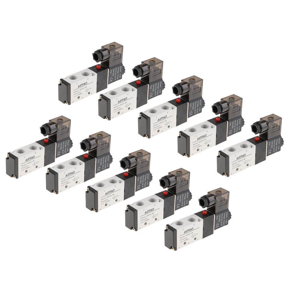 Keajaiban Bersinar 10 Pcs 1/4 Bspt 220 V Dc24v 4v210-08 5way 2 Tiang Katup Solenoid Pneumatic Air By Miracle Shining.