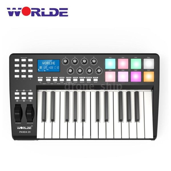 D&S WORLDE PANDA25 Compact 25-Key USB MIDI Keyboard Controller 8 RGB Colorful Backlit Trigger Pads with USB Cable Malaysia