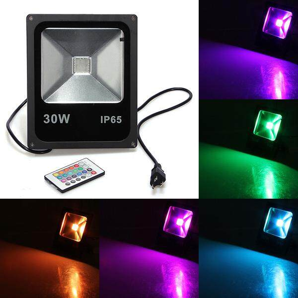 【Free Shipping + Flash Deal】 20W RGB Waterproof IP65 LED Flood Light Wash Garden Lamp + 24key Remote AC 85-265V