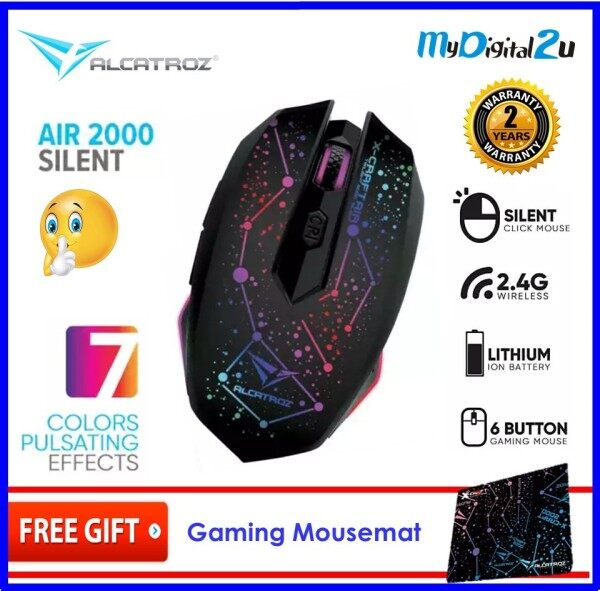 Alcatroz X-Craft Air SILENT Series Wireless Gaming Mouse 3200 CPI Free Mouse Pad Malaysia