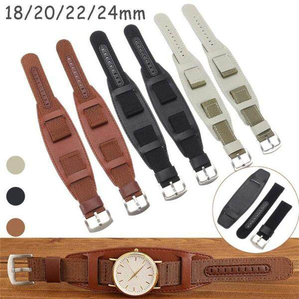 High Quality Waterproof Sport Green Brown Black Nylon WristWatch Band Watch Strap Leather Fabric Canva Malaysia