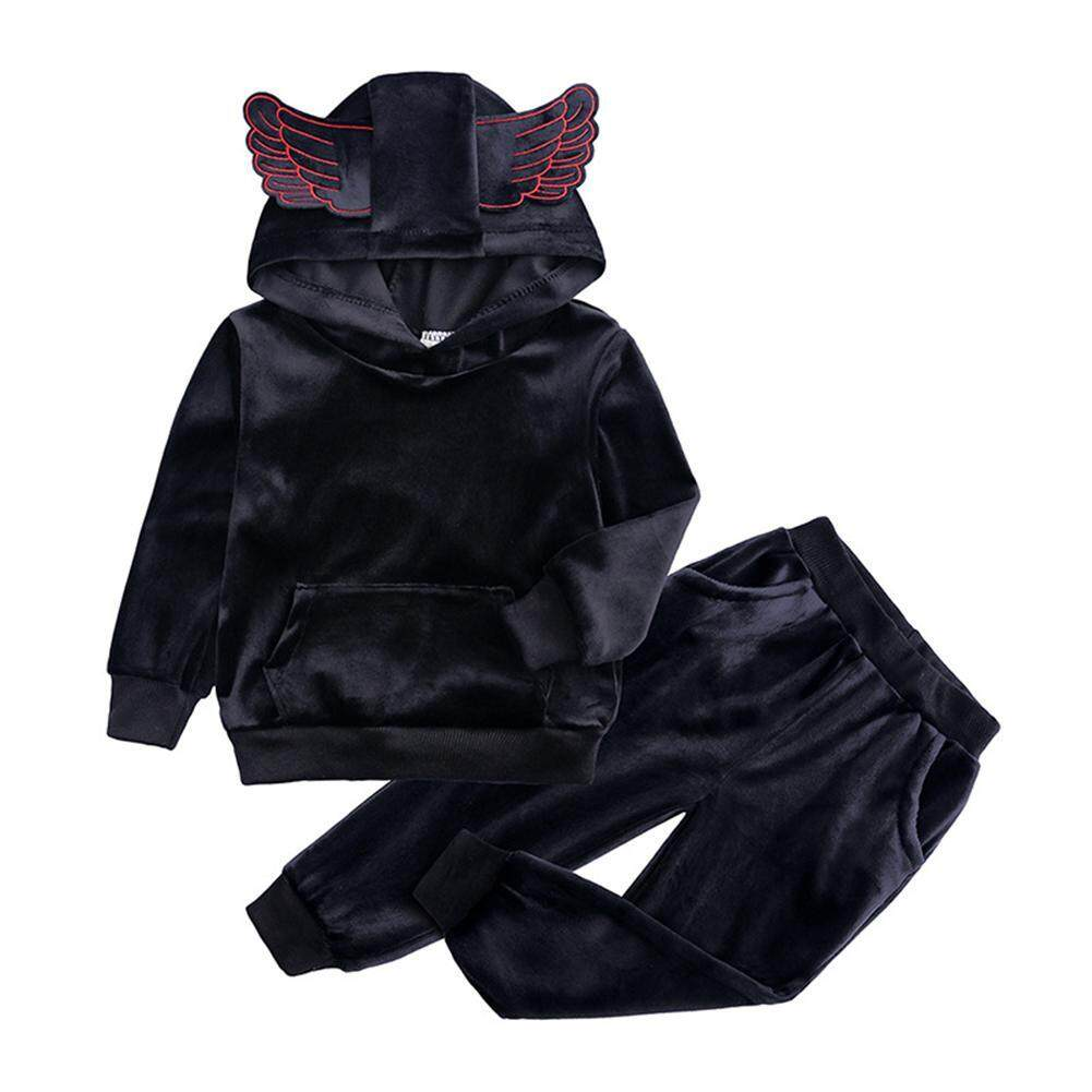 ✿ Fashionhall Store ✿(Free Shipping/Hot Selling) 2pcs/set Gold Velvet Baby Kids Long Sleeve Hooded Tops+Pants Tracksuit