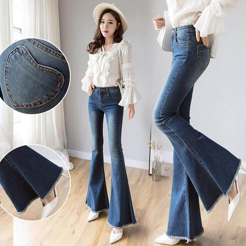 hot-selling authentic official photos pretty nice Vintage Long High Waisted Flare Jeans For Women Wide Leg Jeans Denim Pant  Curvy Stretch Mom Skinny Bell Bottom Jeans Female