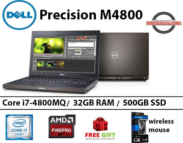 Dell Precision M4800 Core i7-4800MQ 32GB RAM 512GB SSD 15.6 INCH Malaysia