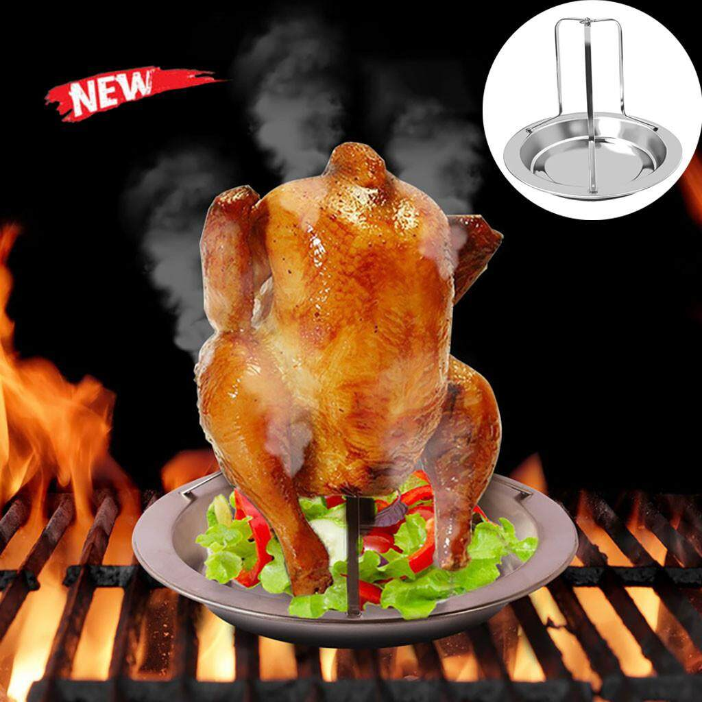 GOULD Roast Chicken Holder Stainless Steel Upright Roaster Rack BBQ Stand Grilled Pan