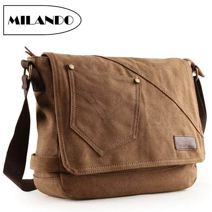 f50e3b6b3cd41 MILANDO Men Vintage Canvas School Messenger Business Laptop Notebook Sling  Bag (Type 3)