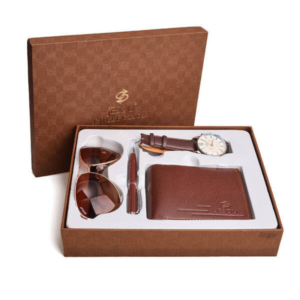 Business Gift Set glasses quartz watch multi-card wallet Fathers Day business gift box Malaysia
