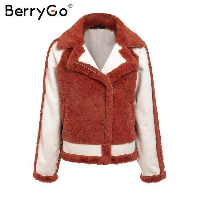 6af6366d6a5 BerryGo Elegant faux fur coat Women 2018 Autumn winter warm soft zipper fur  jacket Female plush