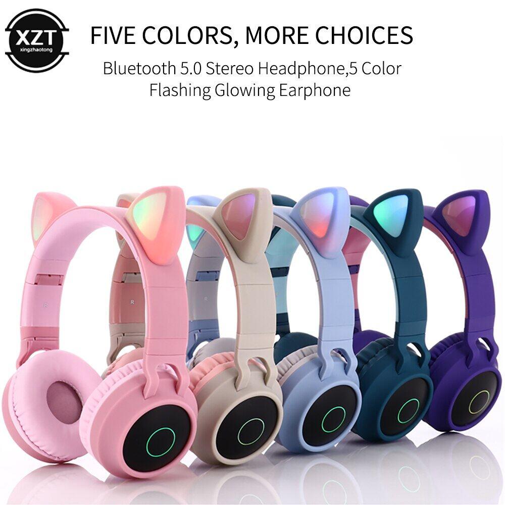 Tai Nghe Bluetooth 5.0 Tai Mèo Tai Nghe Dễ Thương Bluetooth Led Khử Tiếng Ồn Cho Bé Gái Trẻ Em Hỗ Trợ Giắc Cắm Thẻ Tf Mic 3.5Mm Tai Nghe Không Dây
